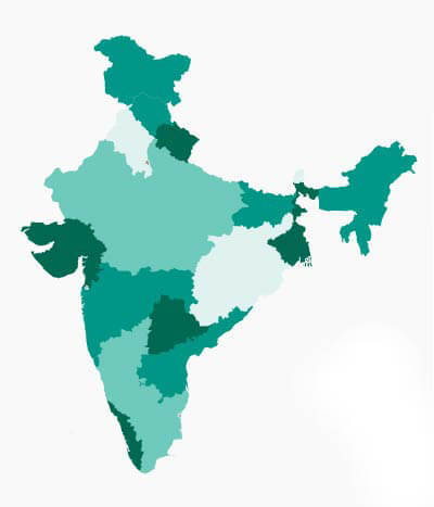 A map of India with differently colored states that represent the frequency of diseases appearing.